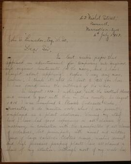 Letter from Gordon McLeish to John S Lumsden  1