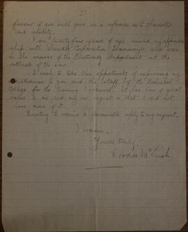 Letter from Gordon McLeish to John S Lumsden  3